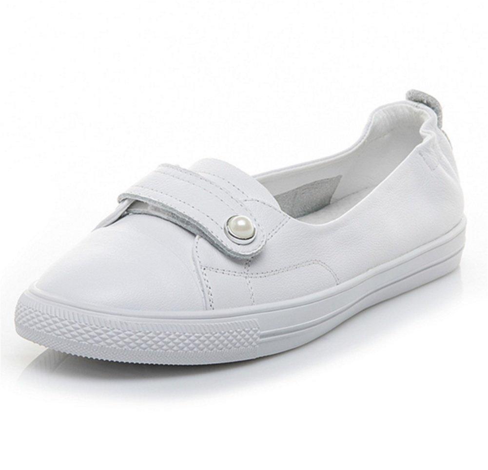 XIE Primera Capa de Piel de Vaca Zapatos de Velcro Blanco Verano Femenino Boca Baja Ocio versátil Estudiante de los Deportes de Las Mujeres Zapatos 34-38, White, 37 37|white