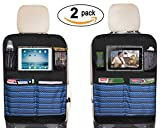 "Waterproof Kick Mats Car Seat Back Protectors with Clear 10"" Ipad Holder + 4 Storage Pockets Backseat Organizer (2 Pack)"