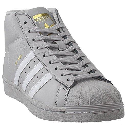 adidas Originals Kids Boy's Pro Model (Big Kid) Light Solid Grey/White/Gold 7 M US Big Kid