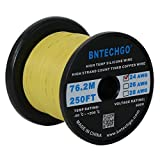 BNTECHGO 24 Gauge Silicone Wire Spool Yellow 250 feet Ultra Flexible High Temp 200 deg C 600V 24AWG Silicone Rubber Wire 40 Strands of Tinned Copper Wire Stranded Wire for Model Low Impedance