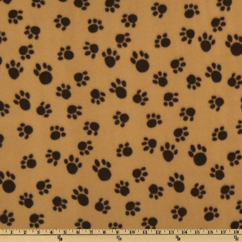 Baum WinterFleece Paws Camel Fabric by The ()