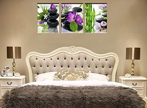 3 Panel Modern Spa Bamboo Zen Stone Purple Flowers Photograph Canvas Painting for Home Wall Decorative by ModeArt (Image #1)