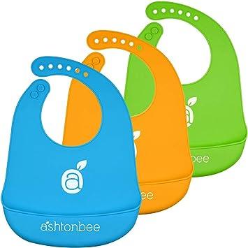 Amazon.com  Silicone Baby Feeding Bibs with Food Catcher Pocket - Unisex  Waterproof Bib  Baby f4c18e7f8