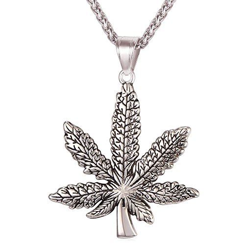 U7 Men Fashion Necklace Stainless Steel Plant Maple Leaf Cannabis Weed Marijuana Pendant Necklace (stainless-steel)