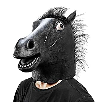Ylovetoys Latex Horse Head Mask Halloween Costume Animal Masks (Black)
