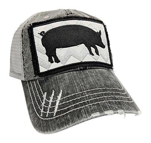 Customized, Pig Baseball Cap, Pig Hat (Grey) ()