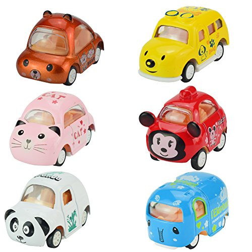 Jellydog Toy Pull Back Cars, 6 Pack Assorted Mini Pull Back Cars, Alloy Die-cast Vehicles Playset , Carton Animal Mini Truck Toy, Pull Back and Go Car Toy Play Set for Kids, Toddler Party Favors - Mini Pull