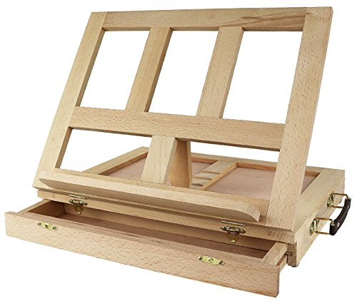 Greenco Beech-Wood Portable Art Desk Easel and Book Stand with drawer by Greenco