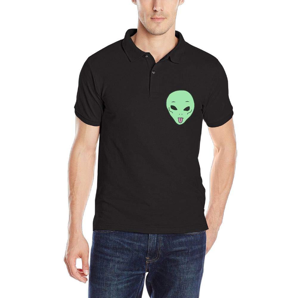 Cute Alien Mens Short Sleeve Polo Shirt Classic-Fit Blouse Sportswear