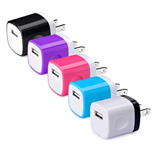 Wall Charger, Charging Plug, Hootek 5-Pack 1A/5V USB Wall Charger Block Brick Charging Cube Box Compatible iPhone 11 XS Max XR X 8 7 6 Plus, Samsung Galaxy S10e S10 S9 S8 S7 S6 A50 Note 10+ 10 9 8, LG