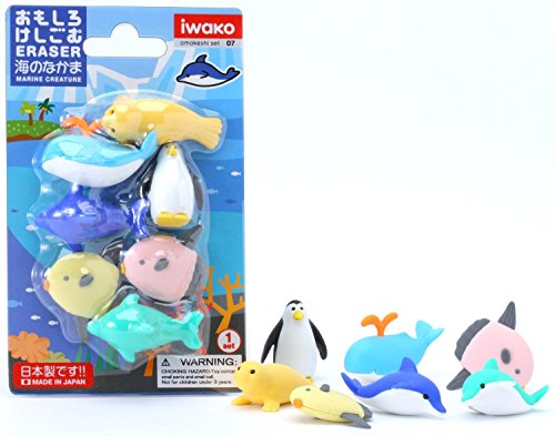 (10 Blister Packs) Iwako Japanese Puzzle Take Apart Erasers Sea Life Set of 7