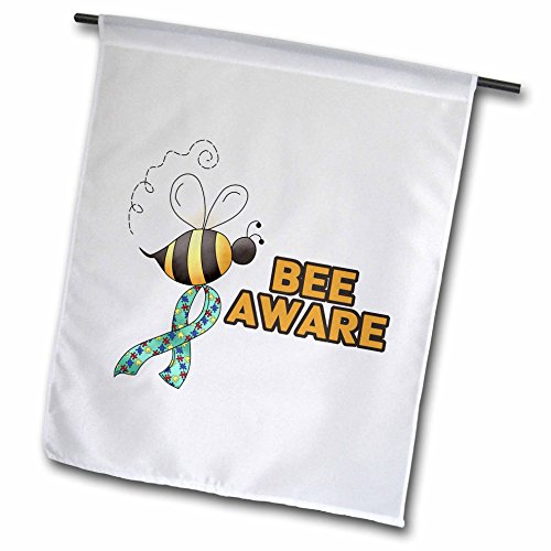 - 3dRose fl_113528_1 Garden Flag, 12 by 18-Inch, Bee be Aware Autism Awareness Ribbon Cause Design