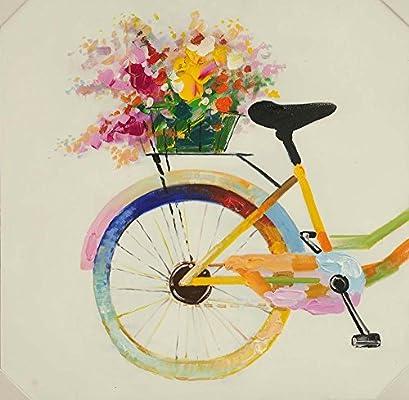 Cuadro sobre Lienzo – Bicicleta Con La Flor Pinturas Al Óleo Pared ...