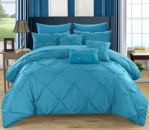 iece Comforter Set Complete Bed In A Bag Pinch Pleated Ruffled Pintuck Bedding with Sheet Set And Decorative Pillows Shams Included, Twin Turquoise (8 Round Deep Olive)