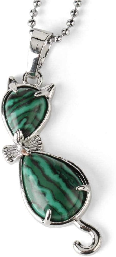 TFOOD Collarcolgante Piedra Preciosa,7 Chakra Moda Natural Malaquita Animal Gato Forma Colgante Collar De Perlas para Hombres Mujeres Regalo De Joyería