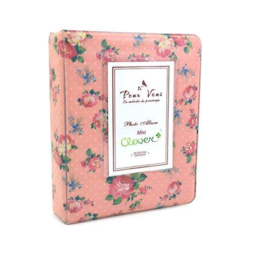 CLOVER 64 Pockets Vintage Floral Photo Album for Instax Mini Films - Pink - Floral Album