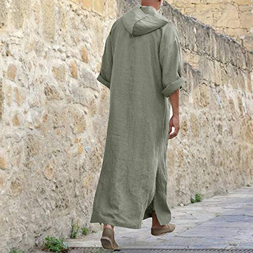 Coton Green Vintage Loose Ethnique Rétro Lin Longue Robe Hommes Manches Robes Yuyoug Caftan Musulman Chemises Longues 1 qxXfwAZTS