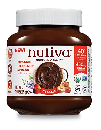 Nutiva Certified Organic, non-GMO, Vegan Hazelnut Spread with Cocoa, Chia and Flaxseed, Classic Chocolate, 13-ounces (Chocolate Organic Sauce)