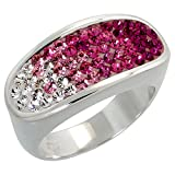 Sterling Silver Oval Pink Topaz Rainbow CZ Ring 3/8 inch, size 9