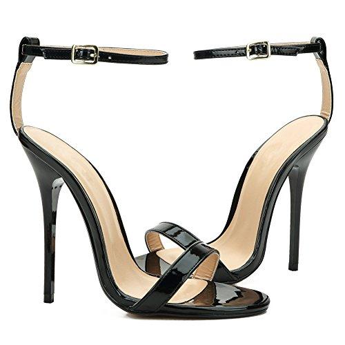 fereshte Women's Men's Ankle Strap Stilettos High-Heeled Sandals Black 9Nh13fxqOX