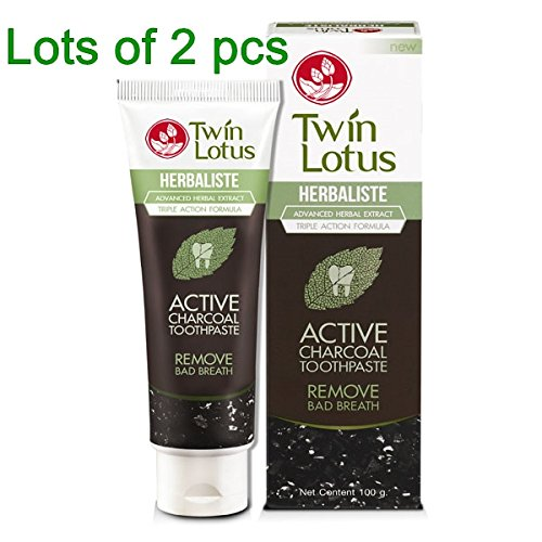 2 x 150g Twin Lotus Herbaliste Active Charcoal Advanced Herbal Extract Triple Action Formula Toothpaste.