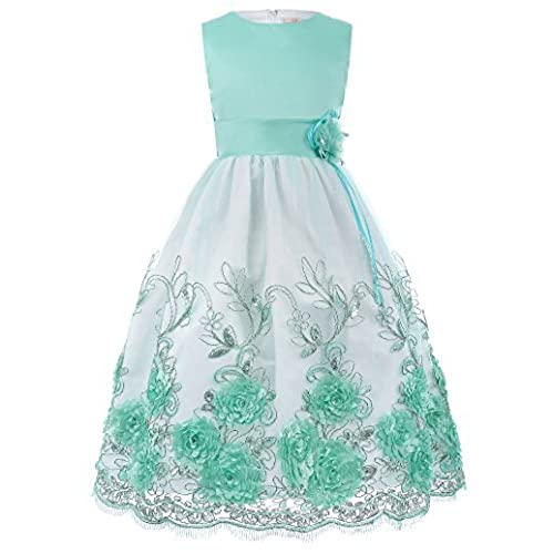 Girls Flower Appliques Prom Gowns with Belt Green 2-3 Years
