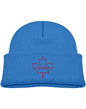 Kids Knitted Beanies Hat Canada Maple Leaf Winter Hat Knitted Skull Cap for Boys Girls Blue