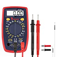 Micsoa Pocket Digital Multimeter Backlight, AC/DC Voltage Amp Ohm Meter with Capacitance Diode Continuity and Temperature Test Red
