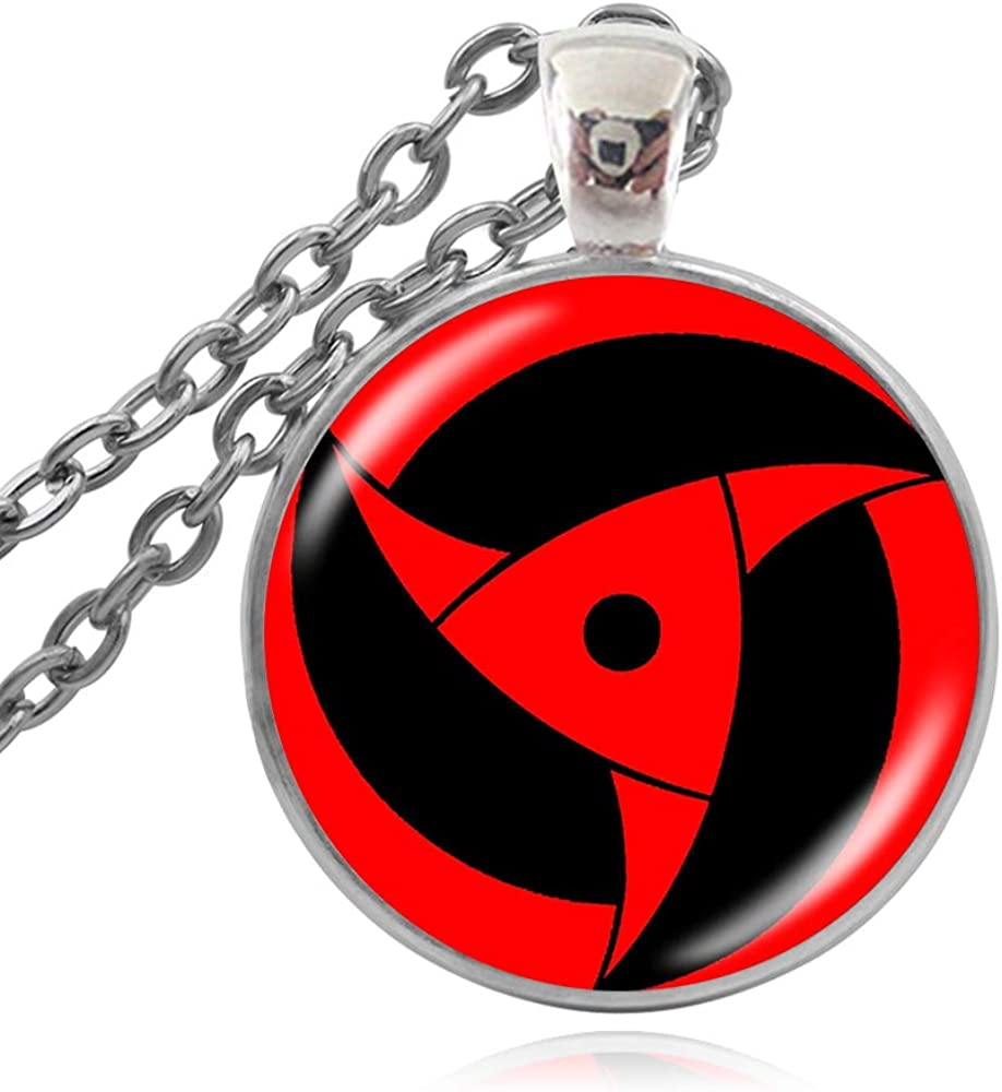 Fashion Simple Glass Round Eye Pendant Necklace Classic Naruto Series Time Gem Necklace Women Men Sweater Chain Jewelry