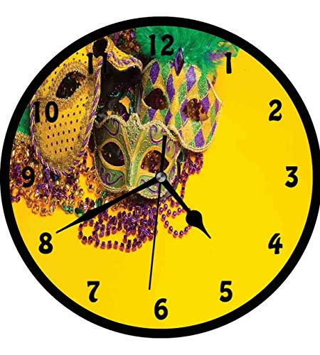 Mardi Gras, Festive and Colorful Group of Venetian Carnival Masks and Accessories,Wall Clock Nice For Gift or Office Home Unique Decorative Clock Wall Decor 12in with Frame, Yellow Purple Green