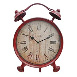 Cheungs Home Decorative Accent Holiday Seasonal Gift FP-3305R Red Metal Alarm Table Clock with Kickstand