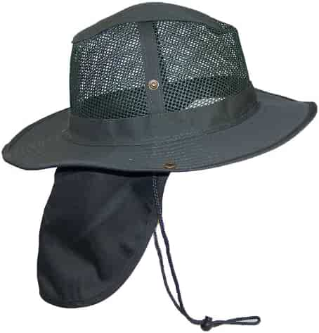 8128791286c Tropic Hats Summer Wide Brim Mesh Safari Outback W Neck Flap   Snap Up