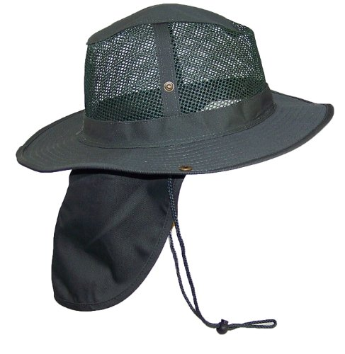 Tropic Hats Summer Wide Brim Mesh Safari/Outback W/Neck Flap & Snap Up Sides - Hunter ()