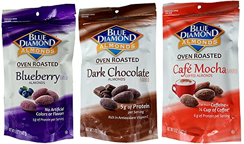 Blue Diamond Almonds VARIETY FLAVORS Blueberry, Dark Chocolate Flavor, Café Mocha Coffee Oven Roasted Almonds (Total of 6 / 5-Ounce Bags)