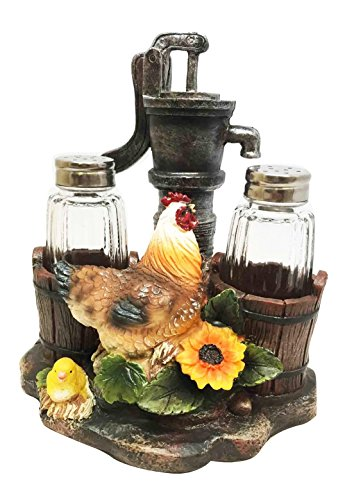 ATL OLD FASHIONED FARM WELL PUMP ROOSTER CHICKEN SALT PEP...