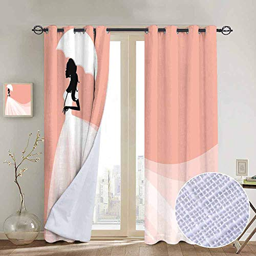 (NUOMANAN Customized Curtains Bridal Shower Decorations,Bride in Abstract Romantic Wedding Dress with Umbrella Art,Salmon and White,Blackout Draperies for Bedroom Living Room)