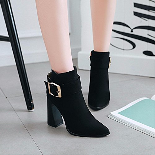 boot buckle winter Boots Size pointed heels belt Black Ms ROqwf7YY