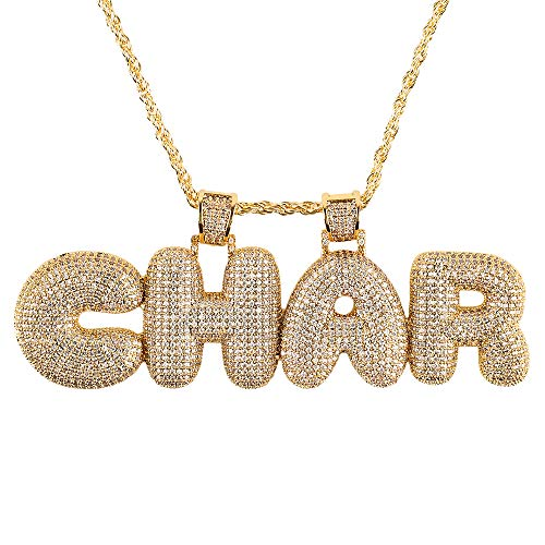 Custom Chains Pendants - Hip hop A - Z Initial or 0-9 Number or Custom Bubble Letter Pendant with Tennis Chain for Men Women