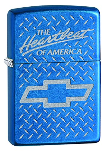 Zippo Lighter: Chevy, The Hearybeat of America, Engraved - Cerulean 76836