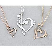Treble Clef Bass Clef Music Note Necklace - IBD - Choose Chain Length - Pendant Size Options - 935 Sterling Silver or 14K Rose Gold Filled Charm – Choir Teacher Gift - Piano Student G