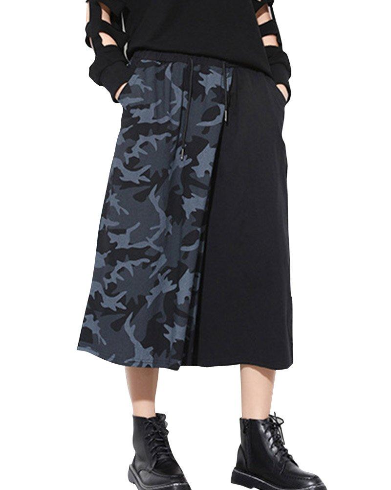 Mujeres Casual Camuflaje Empalme Pantalones de Pierna Ancha