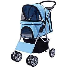 Giantex Four Wheel Pet Stroller Cat & Dog Folding Cart Carrier Jogger Travel (Blue)