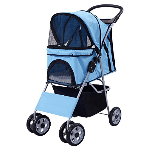 Pet Stroller Four Wheel Cat & Dog Folding Cart Carrier Steel +450D polyester cloth+ EVA Hold up 55 lbs, - Fit International Edmonton