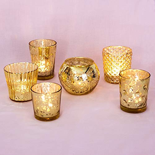 Luna Bazaar Best of Show Vintage Mercury Glass Tealight Votive Candle Holders (Gold, Set of 6, Assorted Designs) - for Weddings, Events, Parties, and Home Décor, Ideal Housewarming Gift (Mercury Set Glass)