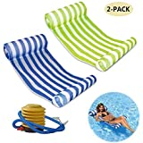 Mioshor Water Hammock Float Pool Lounger Inflatable Raft for Adults 2 Pack (Blue and Green)