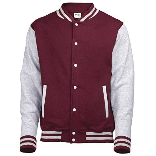AWDis Hoods Varsity Letterman jacket Burgundy / Heather Grey -