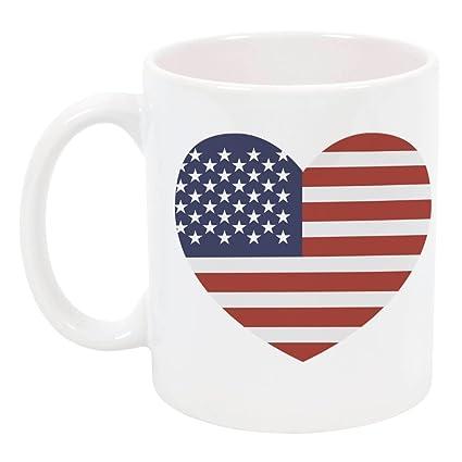 Amazoncom High Tide Mugs Usa Flag Heart Mug Ceramic Mug Red
