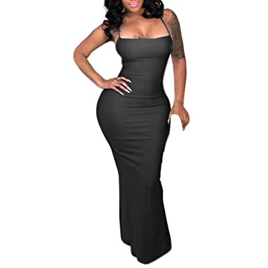 c611e5872a7d Women Bodycon Maxi Dress Sexy Spaghetti Strap Lace up Back Hollow Backless  Nightclub Dresses (S