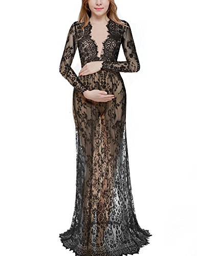 Saslax Women's Deep V-Neck Long Sleeve Lace See-through Wedding Maxi Dress,Black,X-Large -