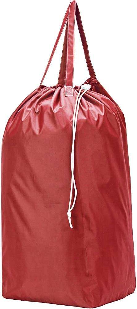 HOMEST Nylon Laundry Bag with Handles, Square Base Can Hold Up to 3 Loads of Clothes, Drawstring Closure and Machine Washable, Camping Gear Storage Bag, Red